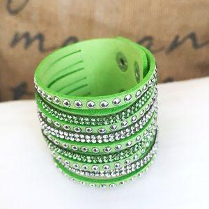 🎀 NEW • Green Crystal Vegan Leather Bracelet •